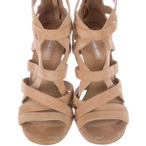 ebd048c029c Michael Kors Collection Shoes - Michael Kors Collection Nude Suede Caged  Heels